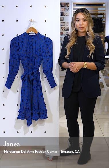 Bianca Dash Pattern Ruffle Hem Dress, sales video thumbnail
