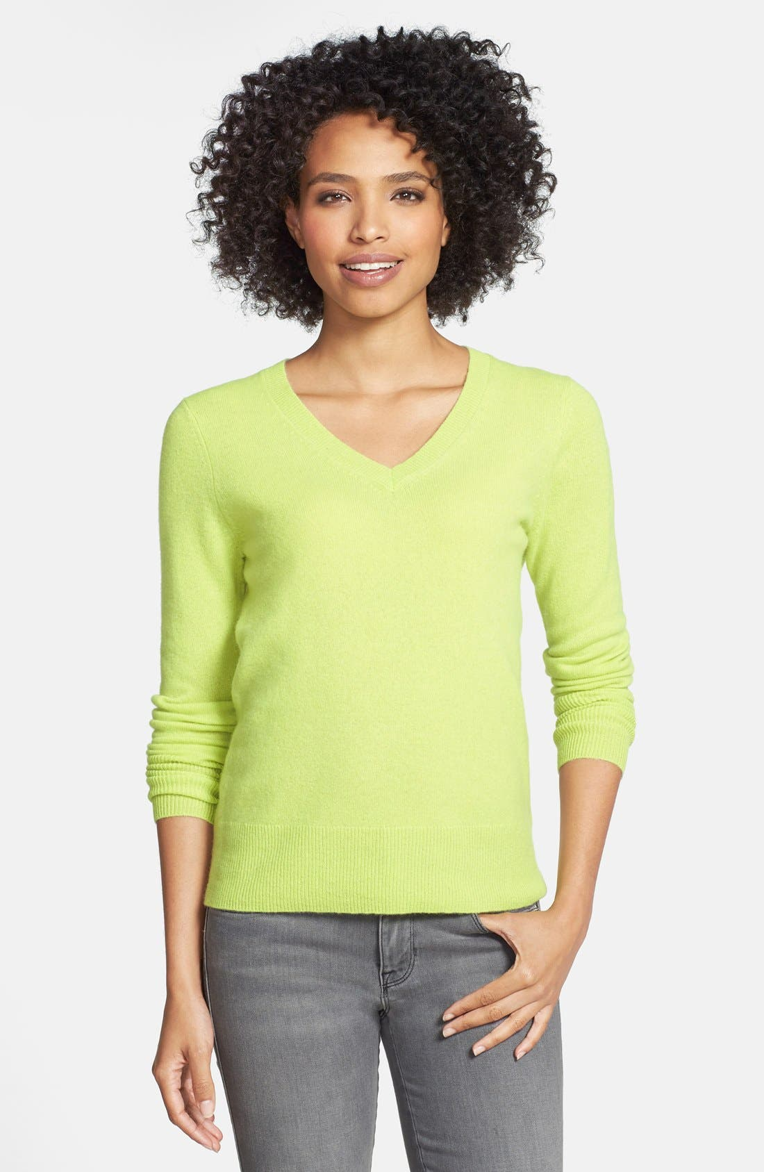 ,                             Cashmere V-Neck Sweater,                             Main thumbnail 26, color,                             310