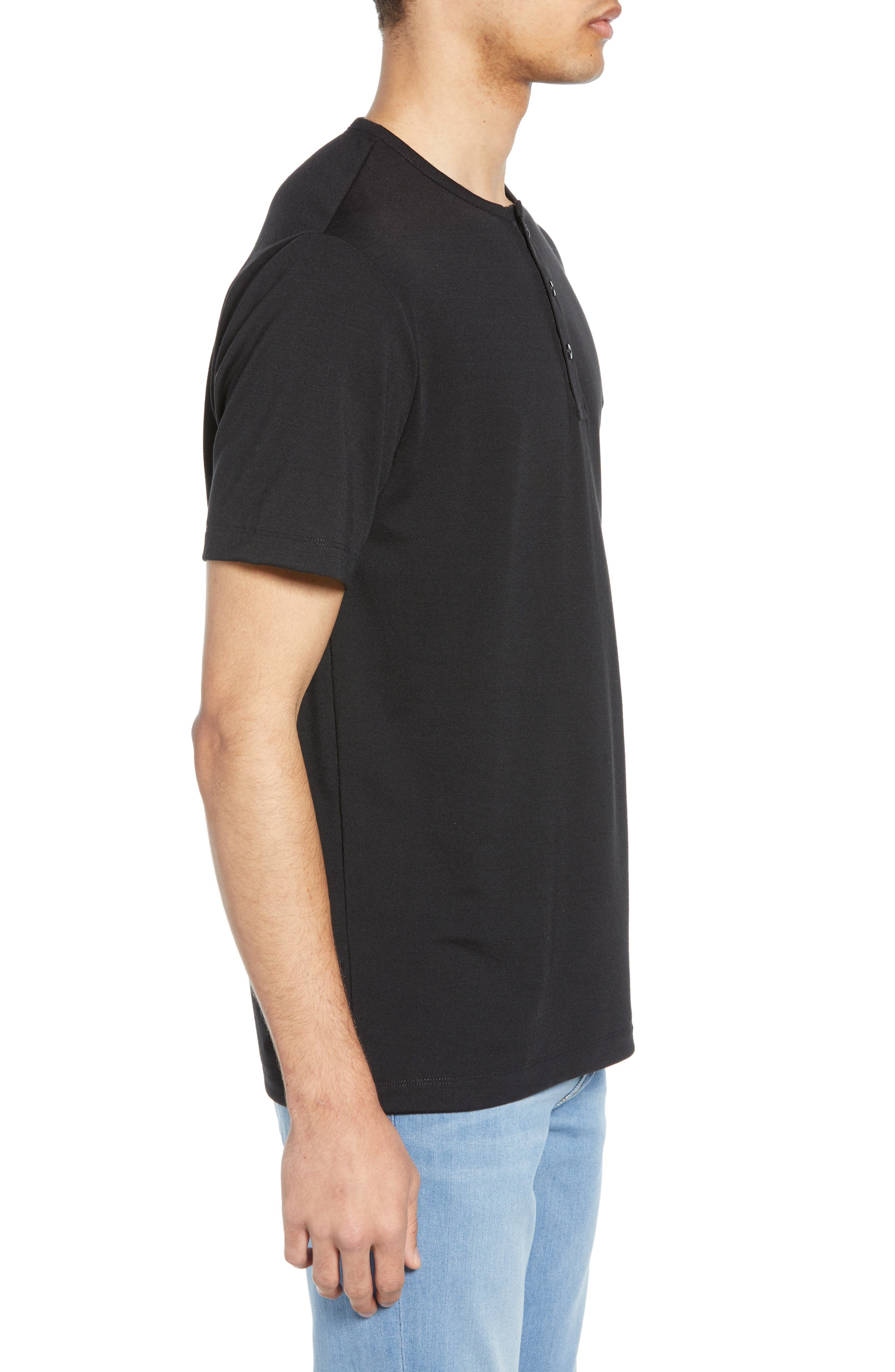 ,                             Solid Henley,                             Alternate thumbnail 3, color,                             BLACK