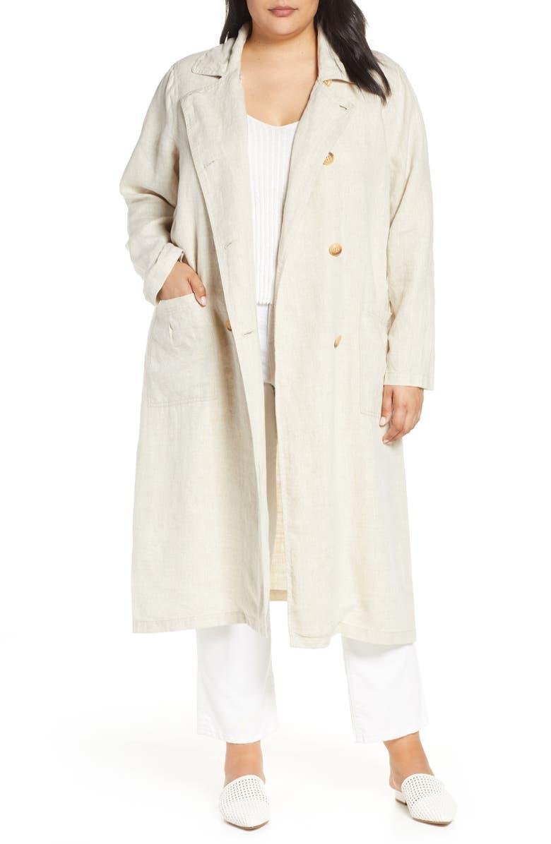 AVEC LES FILLES Oversize Linen Duster Coat, Main, color, 901