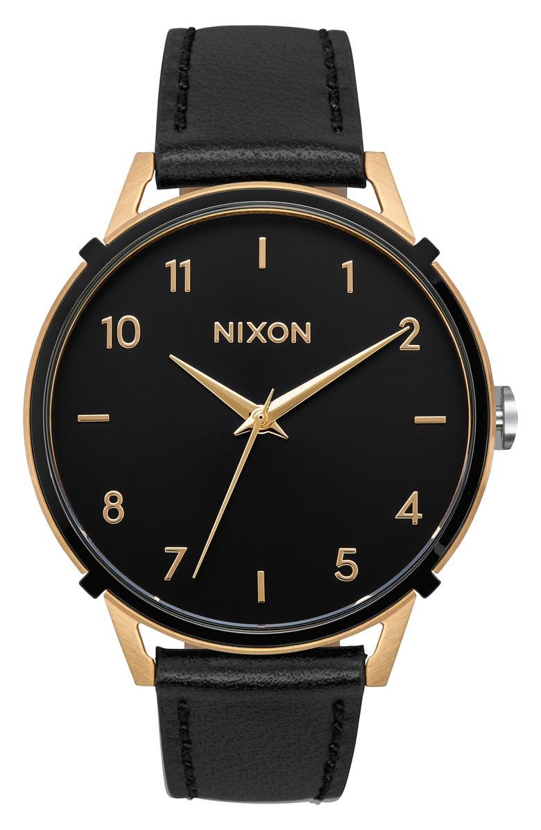 NIXON The Arrow Leather Strap Watch, 38mm, Main, color, BLACK/ GOLD/ BLACK
