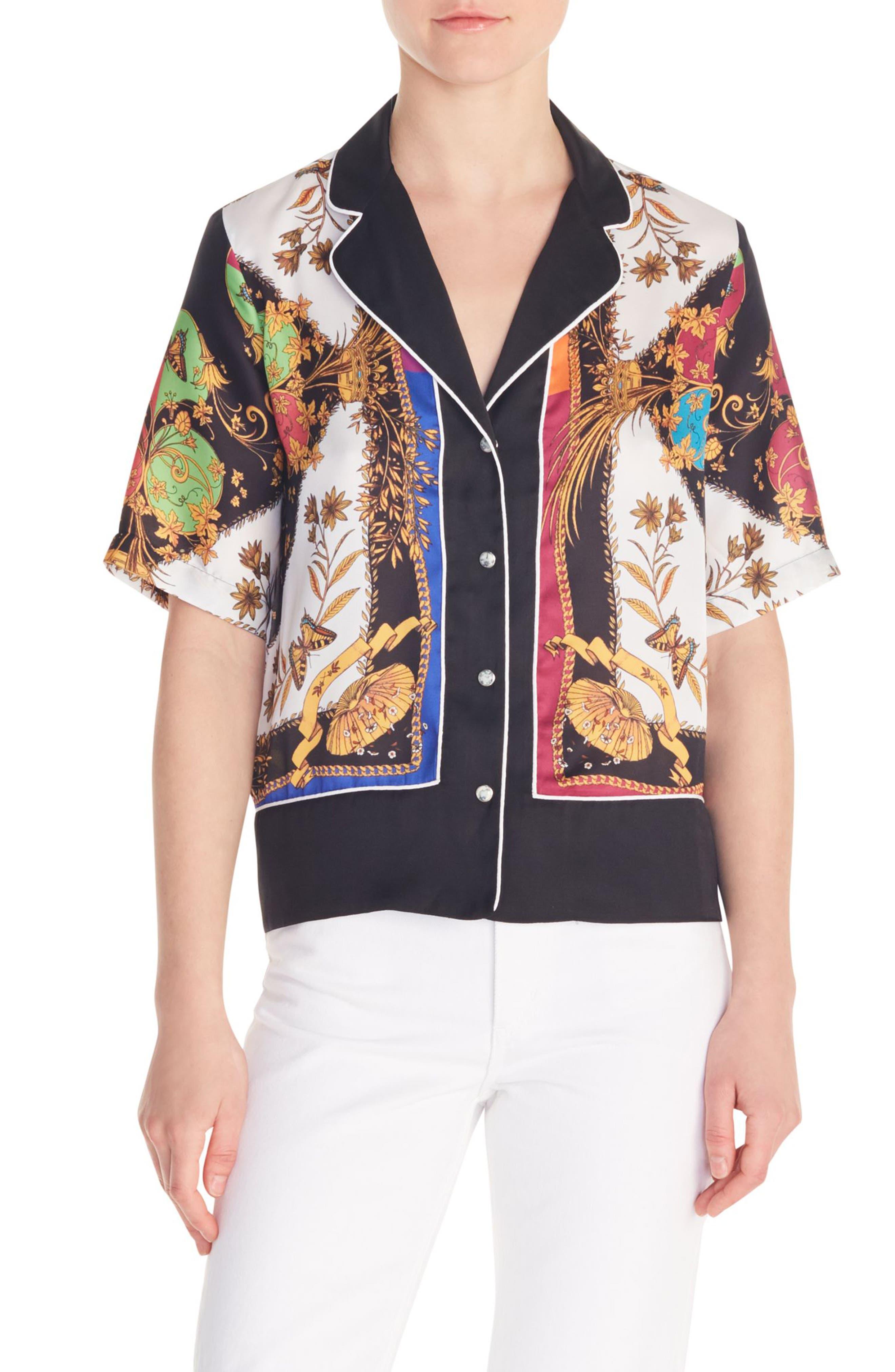 Sandro Maxence Scarf Print Pajama Shirt, Black