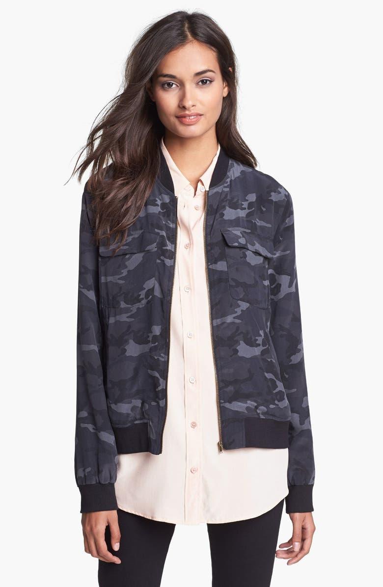 EQUIPMENT 'Abbot' Camo Silk Bomber Jacket, Main, color, TRADITIONAL CAMO