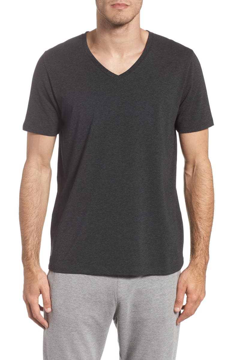 TOMMY JOHN Cotton Blend V-Neck T-Shirt, Main, color, HEATHER CHARCOAL
