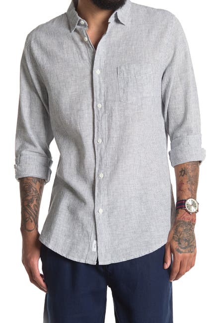 Image of Onia Abe Pinstripe Linen Blend Regular Fit Shirt