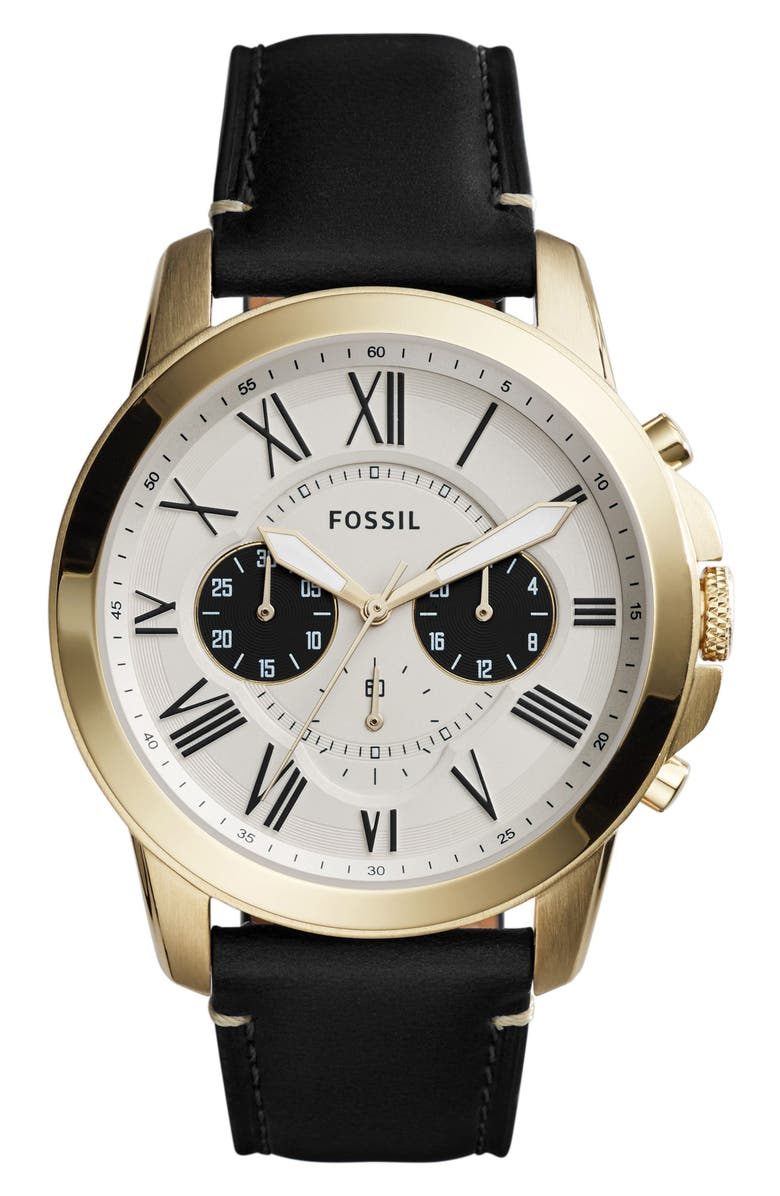 FOSSIL Grant Chronograph Leather Strap Watch, 44mm, Main, color, 001