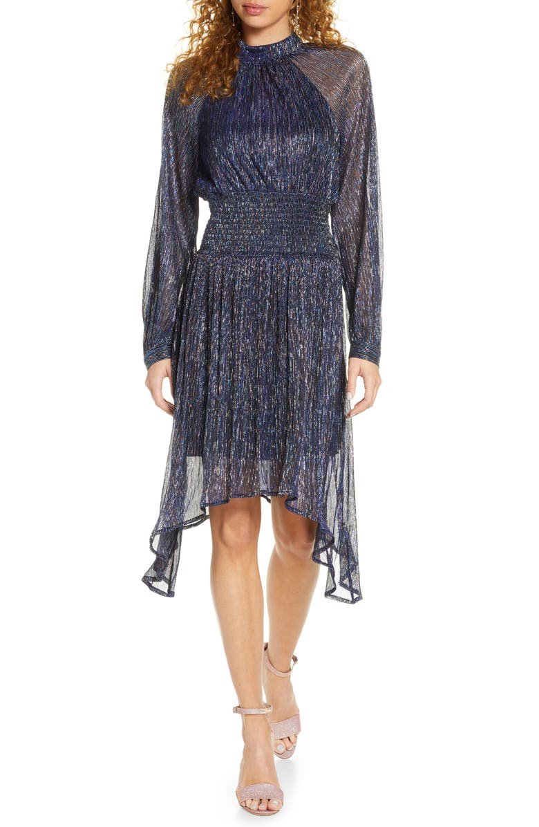 FOXIEDOX Tazanna Shimmer Stripe Long Sleeve Cocktail Dress, Main, color, CHARCOAL MULTI