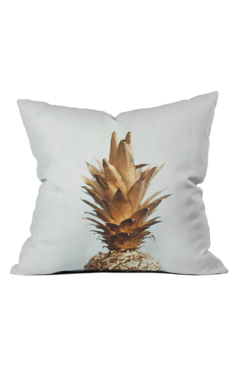 DENY DESIGNS Gold Pineapple Pillow, Main, color, 100