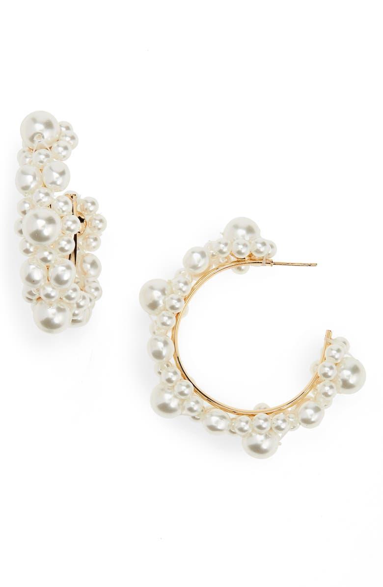 SIMONE ROCHA Daisy Imitation Pearl Hoop Earrings, Main, color, PEARL