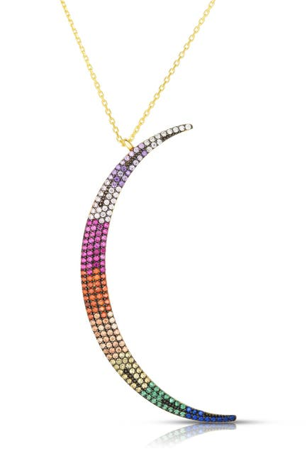Image of Sphera Milano 14K Yellow Gold Plated Sterling Silver Pave Rainbow CZ Moon Pendant Necklace