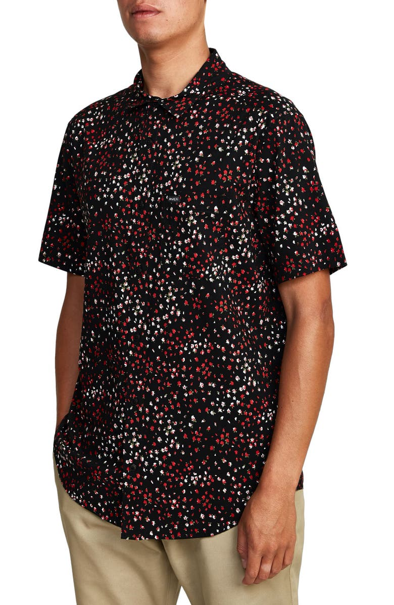 RVCA Oliver Short Sleeve Button-Up Shirt, Main, color, BLACK