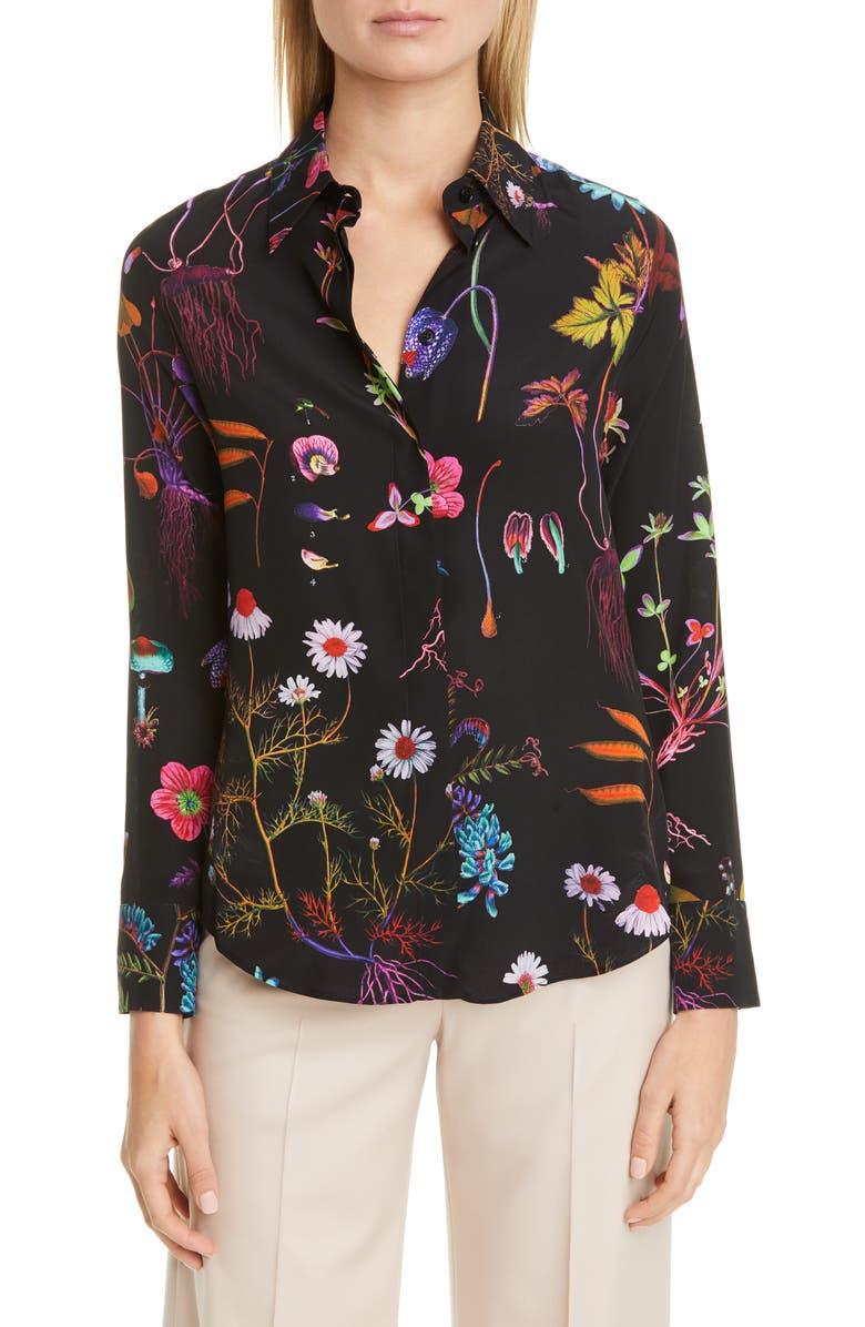 STELLA MCCARTNEY Floral Print Silk Blouse, Main, color, BLACK