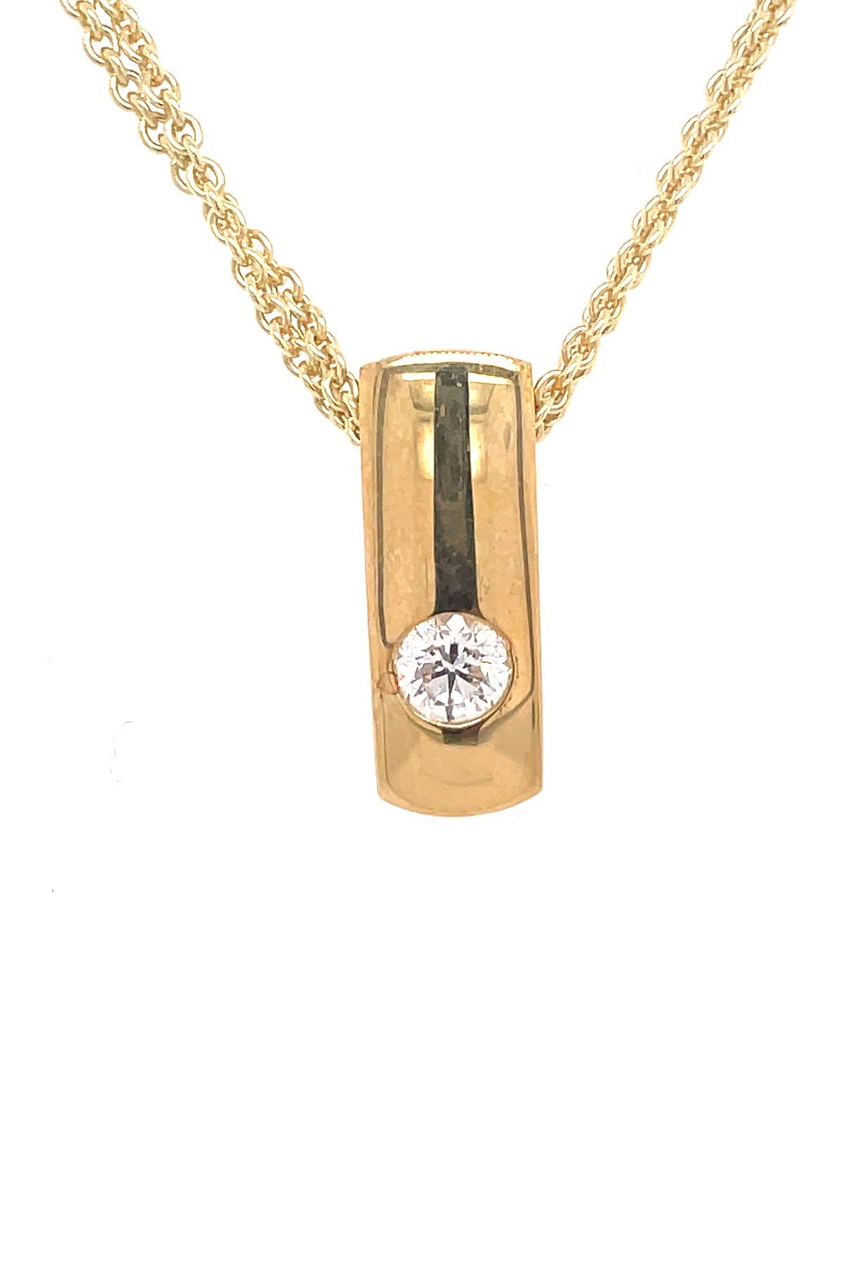 Image of BREUNING 14K Yellow Gold Flush Set Diamond Pendant Necklace - 0.32 ctw