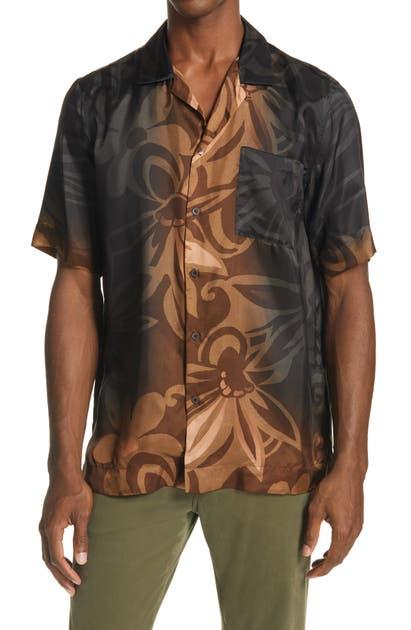 Dries Van Noten T-shirts CARLTONE FLORAL SHORT SLEEVE BUTTON-UP SHIRT