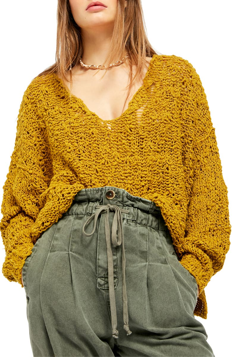 FREE PEOPLE Sunday Shore Cotton Blend Sweater, Main, color, GOLD SHOW