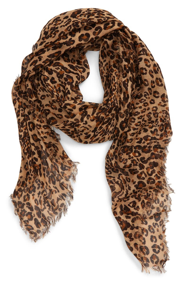 MADEWELL Literal Leopard Print Scarf, Main, color, WARM SAND MULTI