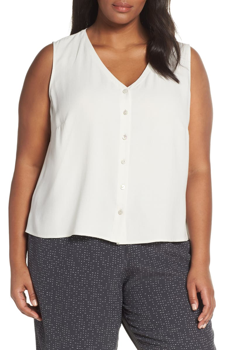 EILEEN FISHER Sleeveless Silk Top, Main, color, 900