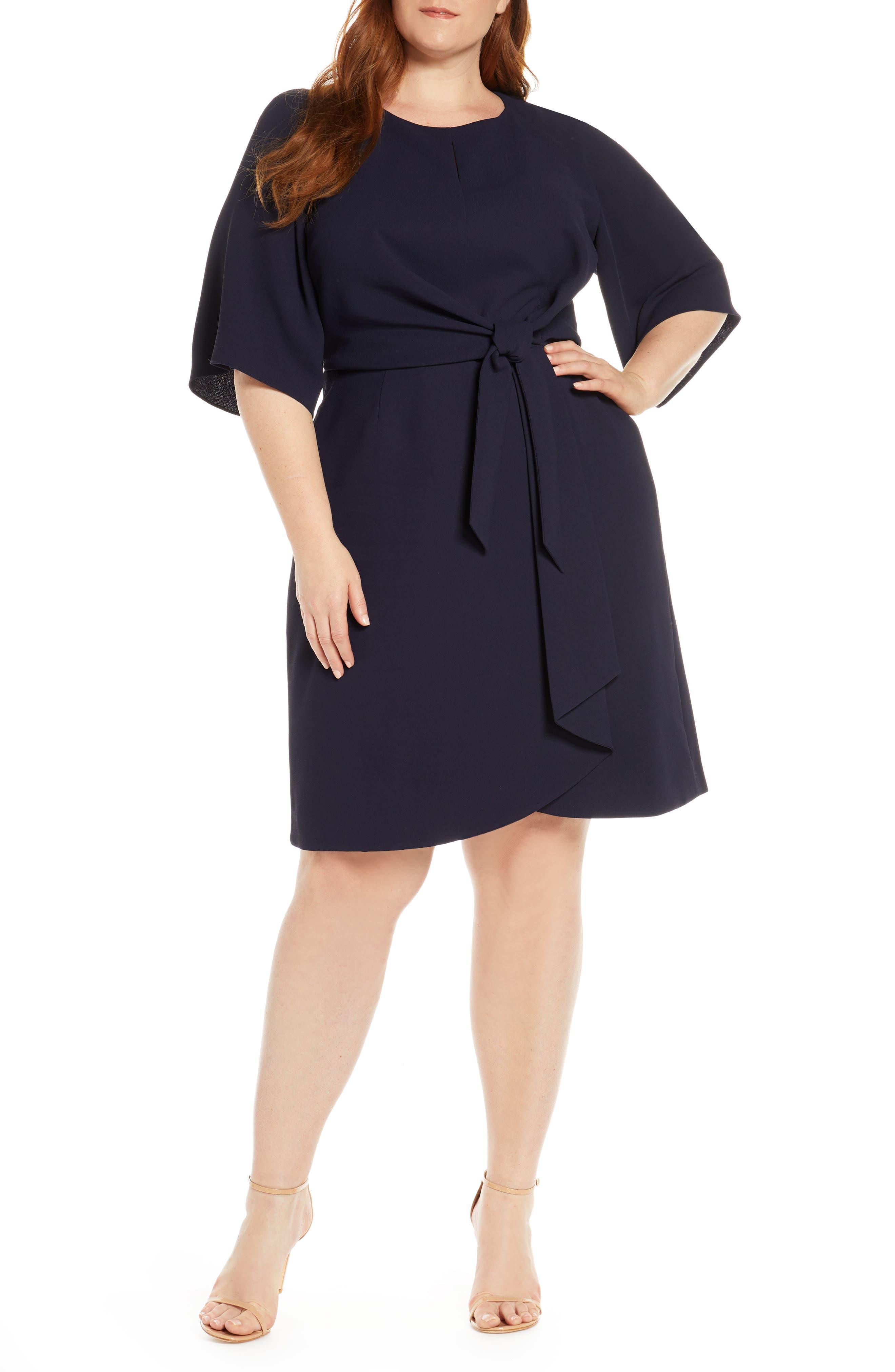 plus size women's tahari tie front crepe shift dress, size 24w - blue