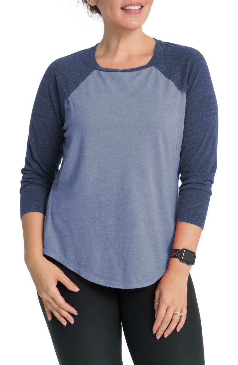 BUN MATERNITY Relax Raglan Sleeve Maternity/Nursing Top, Main, color, DREAM BLUE
