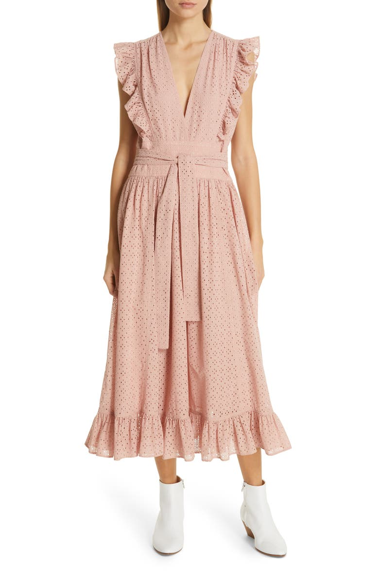 ROBERT RODRIGUEZ Ruffle Eyelet Dress, Main, color, LOTUS