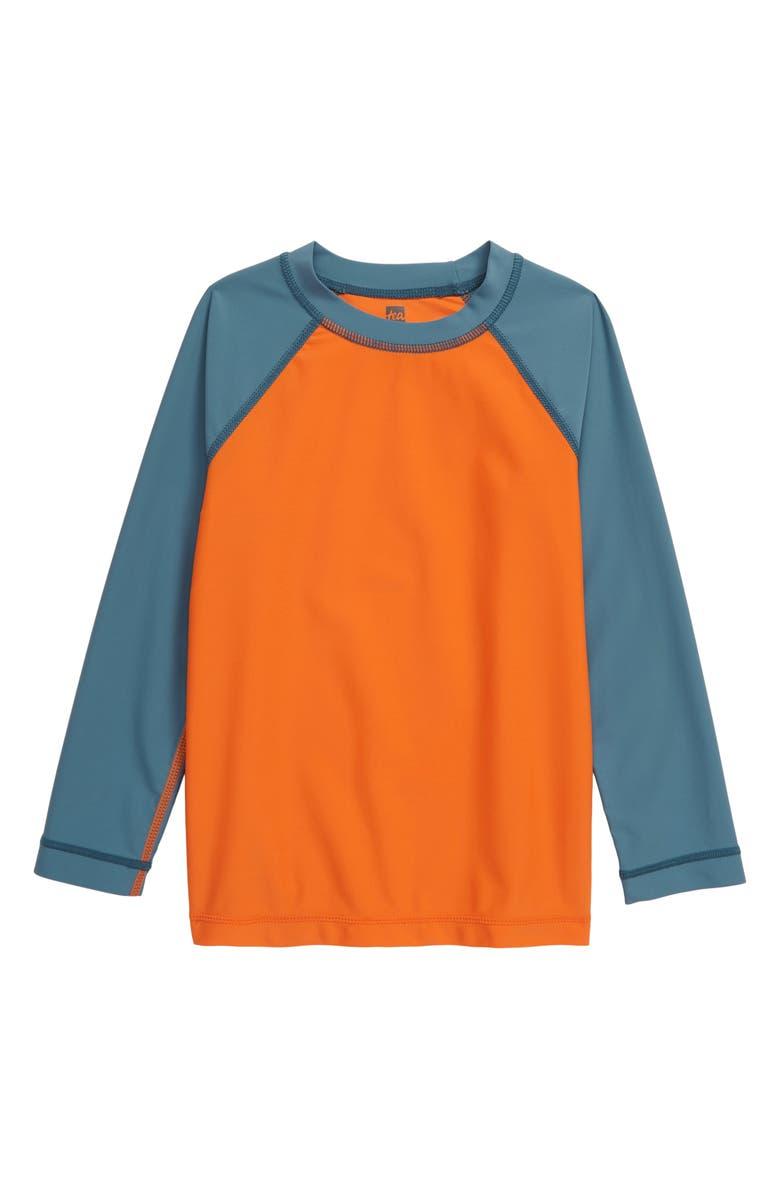TEA COLLECTION Colorblock Long Sleeve Rashguard, Main, color, HARVEST PUMPKIN