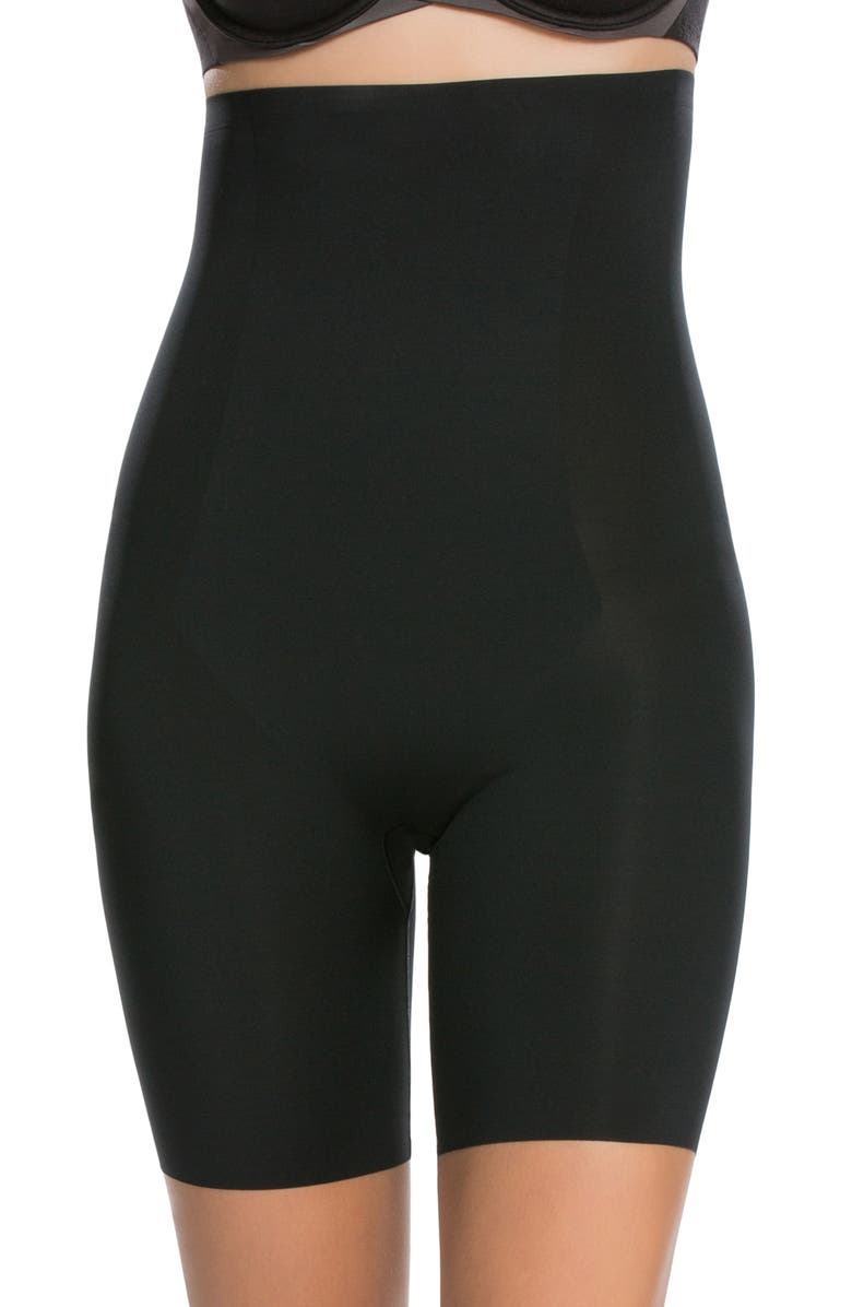 SPANX<SUP>®</SUP> Thinstincts High Waist Mid Thigh Shorts, Main, color, VERY BLACK