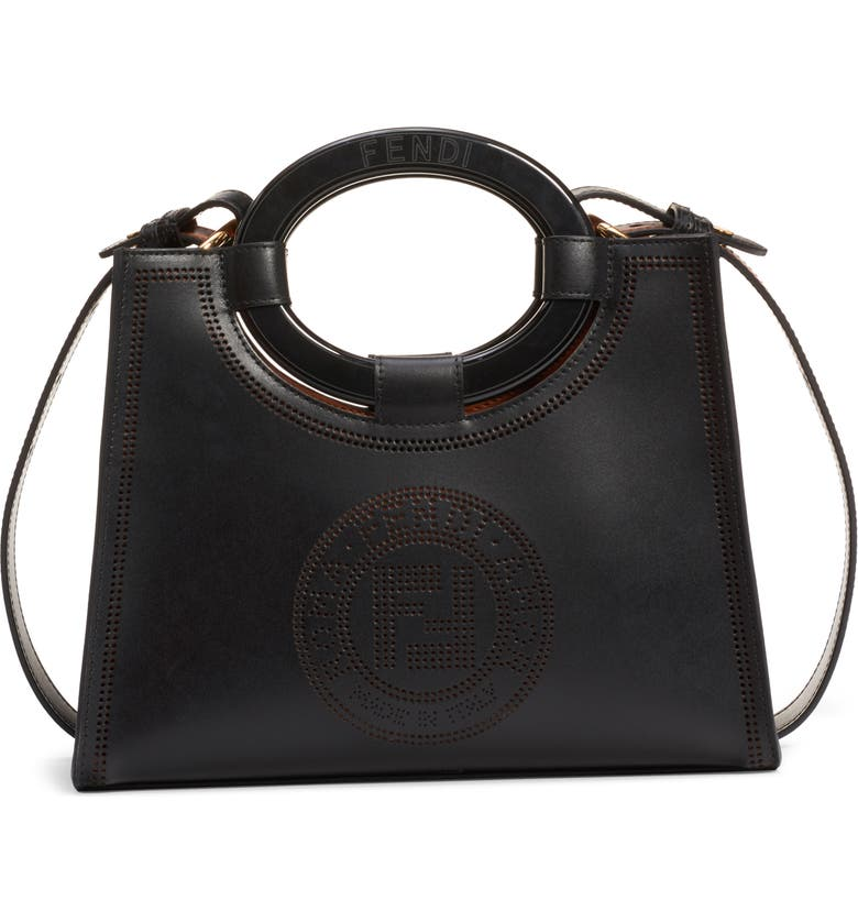 FENDI Runaway Perforated Double-F Logo Leather Shopper, Main, color, BLACK/ SOFT GOLD