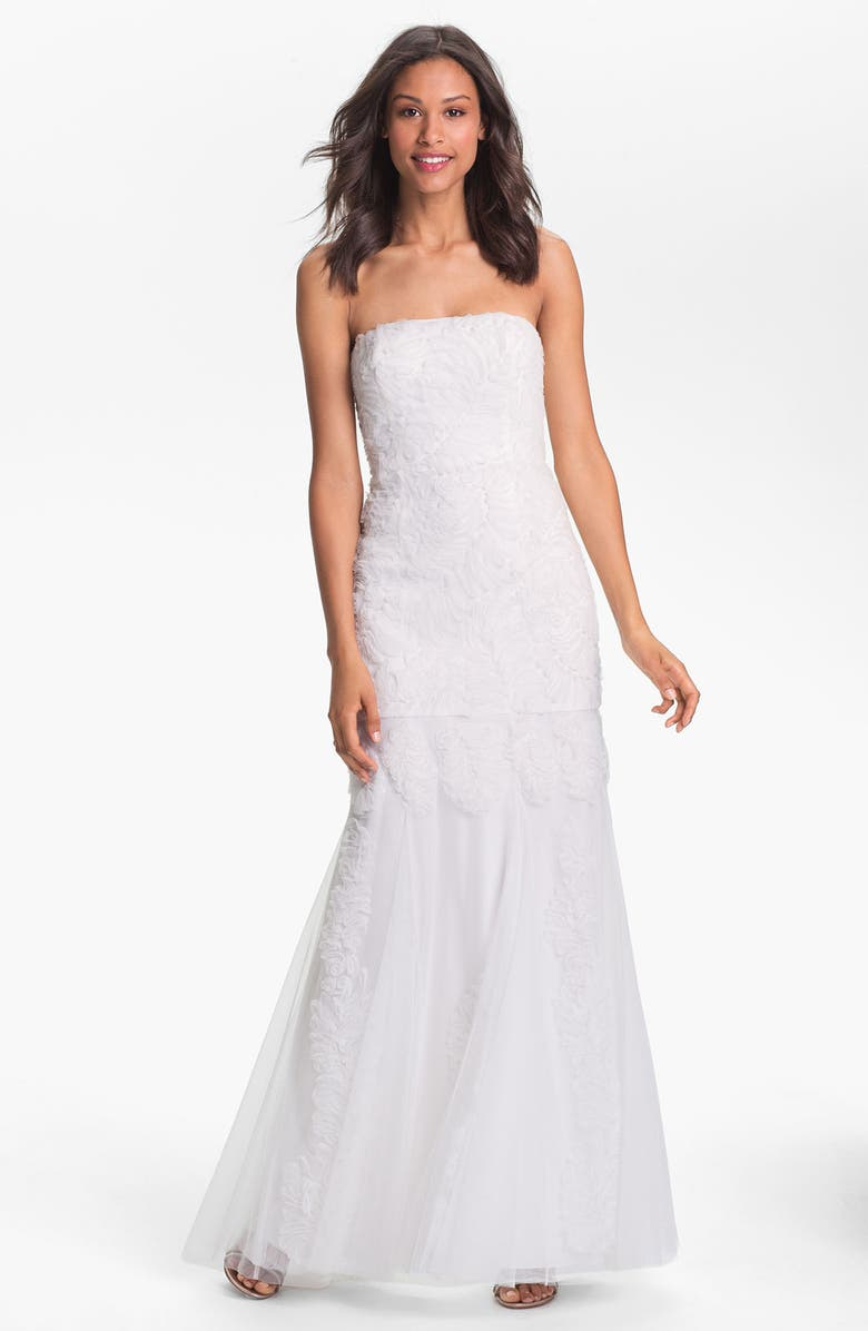 ADRIANNA PAPELL Strapless Rosette Mermaid Gown, Main, color, 900