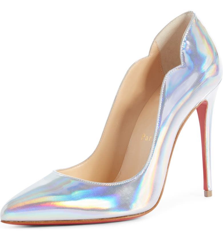 CHRISTIAN LOUBOUTIN Hot Chick Scallop Pump, Main, color, SILVER