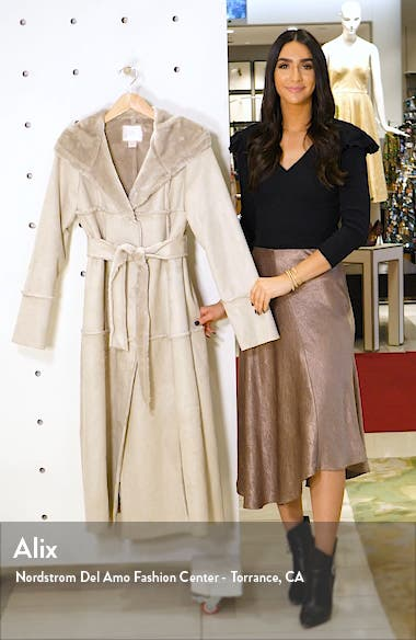Faux Fur Trim Hooded Coat, sales video thumbnail