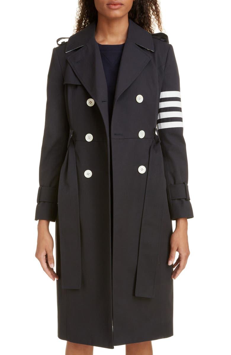 THOM BROWNE Stripe Sleeve Waterproof Trench Coat, Main, color, NAVY