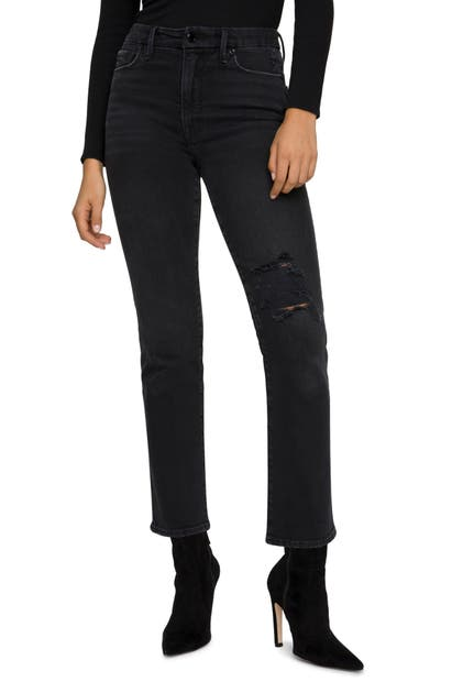 Good American Jeans GOOD CLASSIC RIPPED HIGH WAIST STRAIGHT LEG JEANS