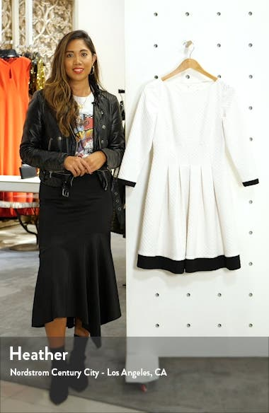 Dot Textured Colorblock Fit & Flare Dress, sales video thumbnail