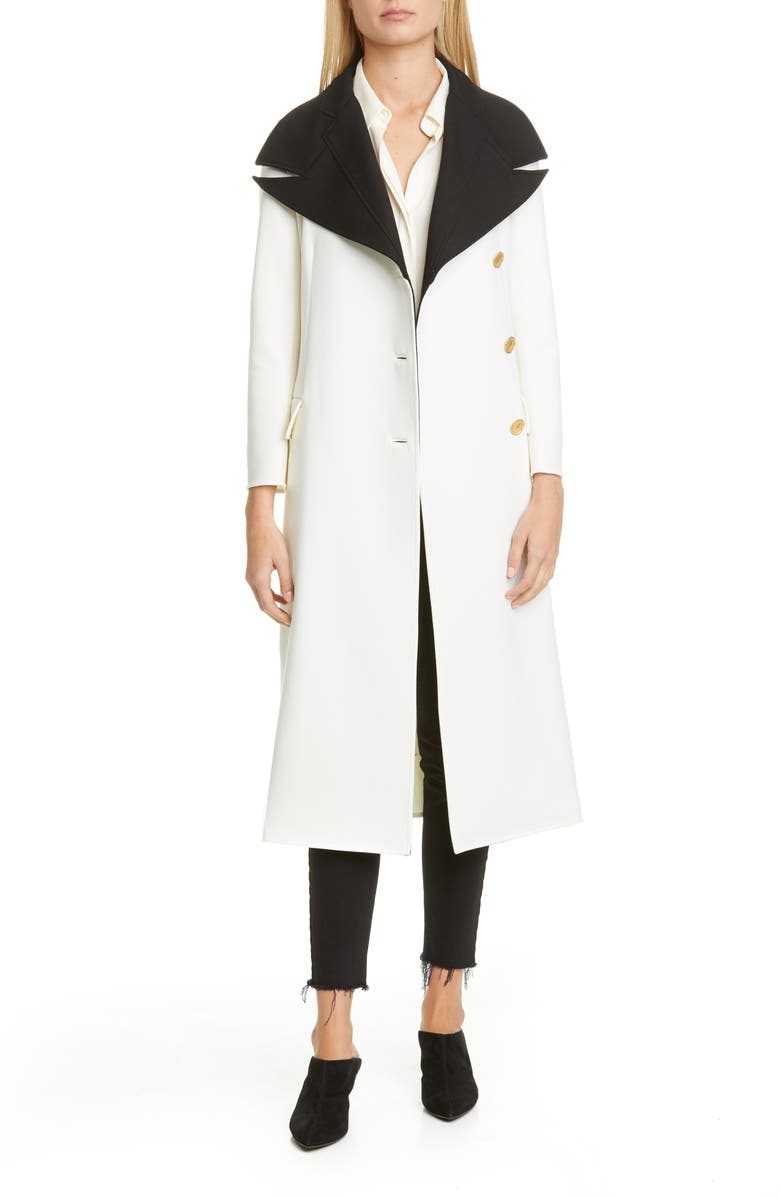 PROENZA SCHOULER Layered Contrast Lapel Wool Blend Coat, Main, color, OFF WHITE/ BLACK