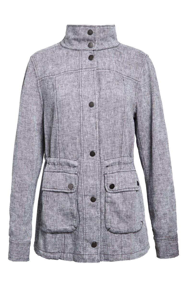 CASLON<SUP>®</SUP> Linen Blend Utility Jacket, Main, color, BLACK CROSSDYE