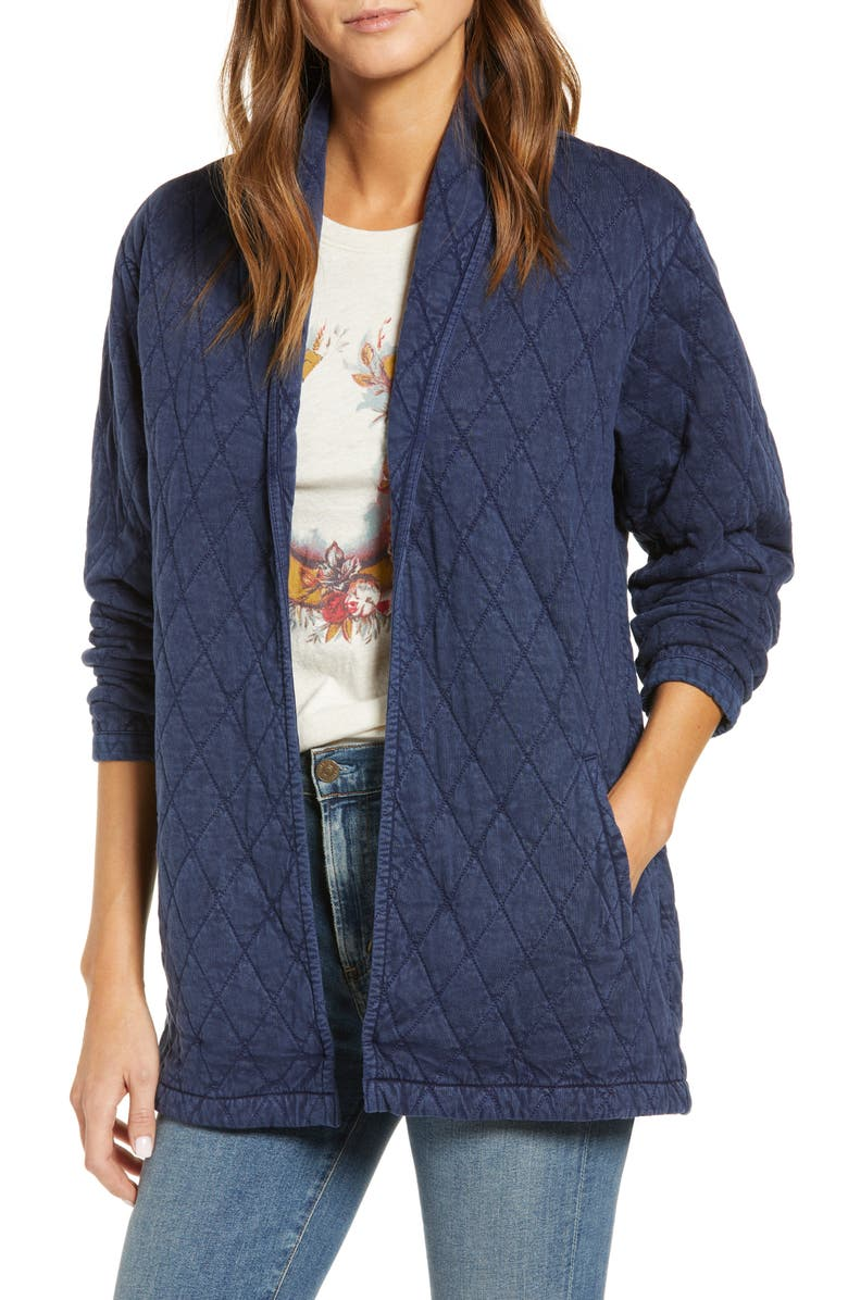 LUCKY BRAND Quilted Long Jacket, Main, color, INDIGO