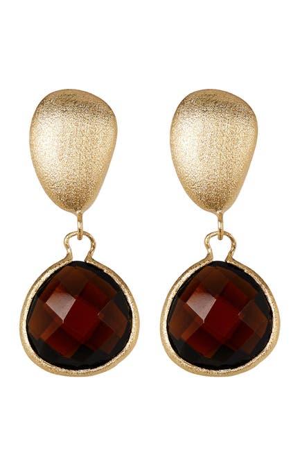 Image of Rivka Friedman 18K Gold Clad Smokey Crystal Teardrop Drop Pebble Post Earrings