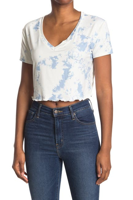 Image of Lush Cropped V-Neck Tie Dye T-Shirt