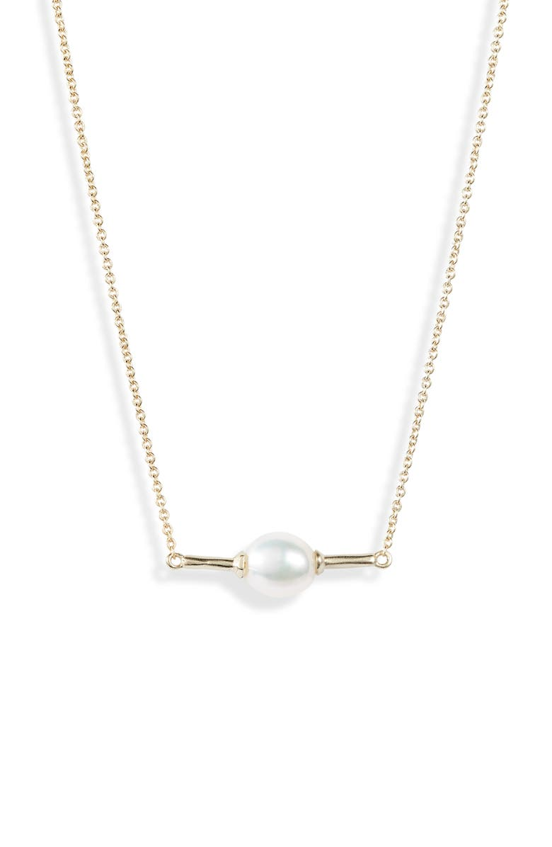 KENDRA SCOTT Emberly Natural Pearl Necklace, Main, color, GOLD/ WHITE BAROQUE PEARL