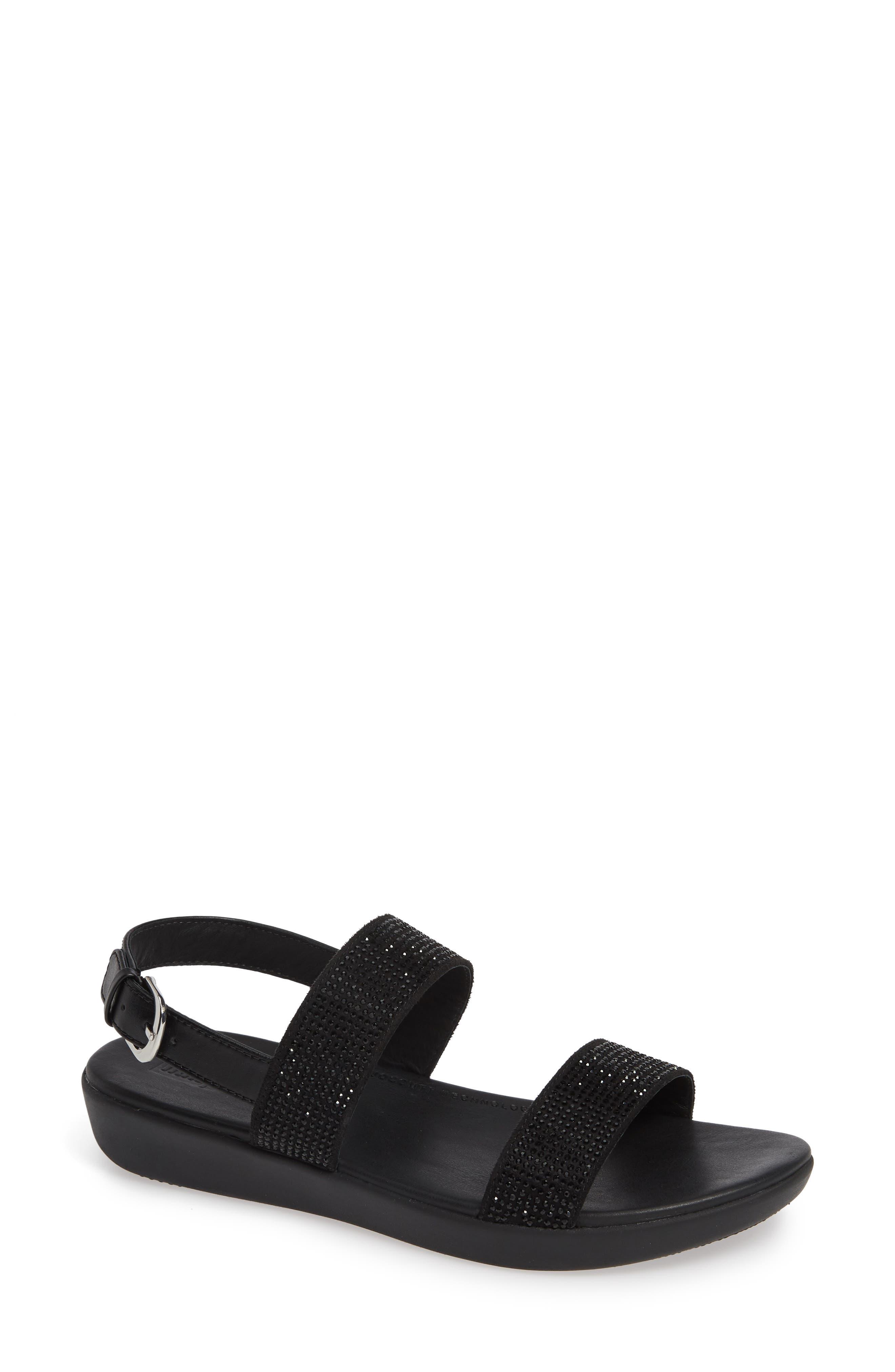 Fitflop Barra Crystalled Sandal, Black