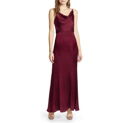 Chi Chi London Alexandria Cowl Neck Satin Trumpet Gown, Burgundy