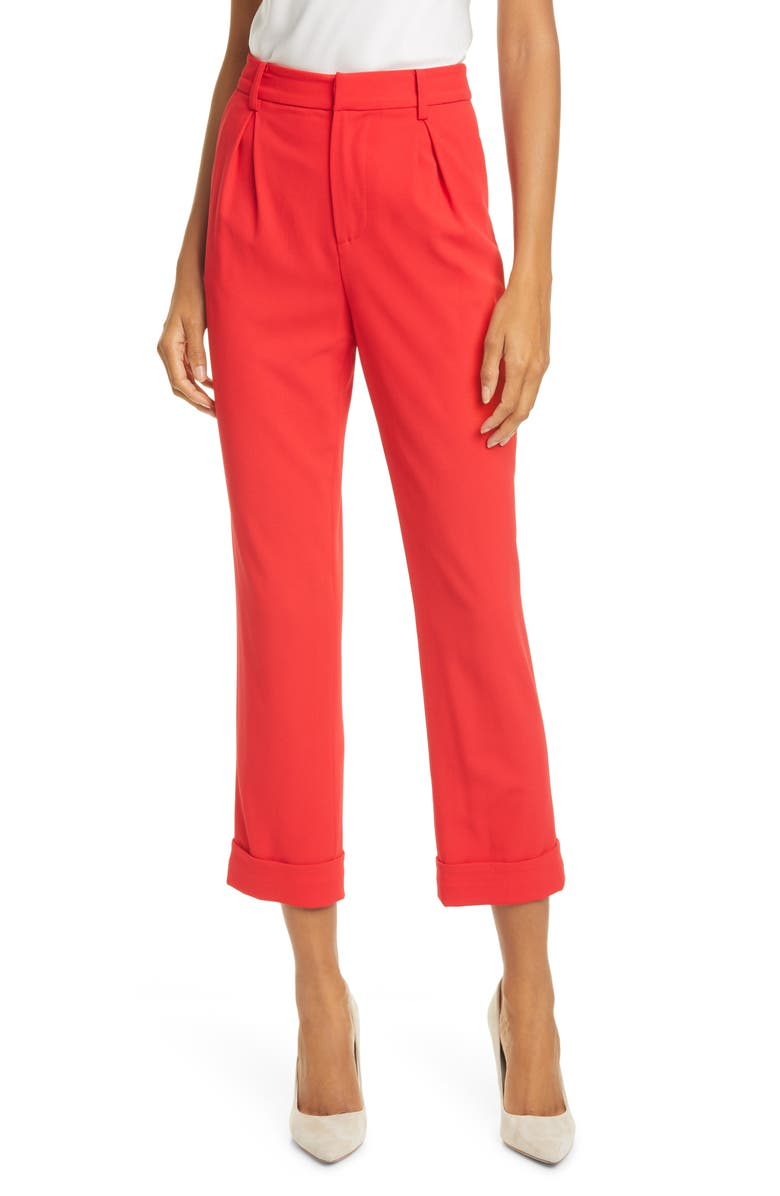 ALICE + OLIVIA Ardell High Waist Crop Pants, Main, color, PAPRIKA
