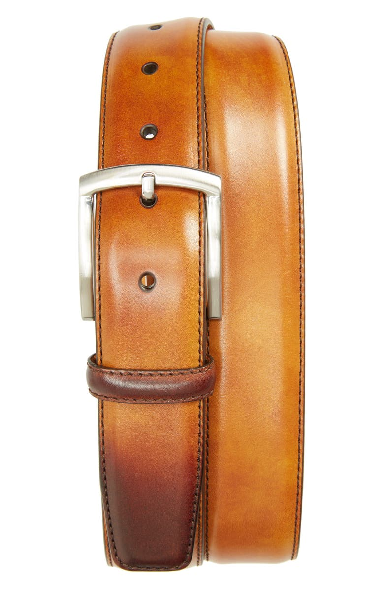 MAGNANNI Tanner Leather Belt, Main, color, CUERO