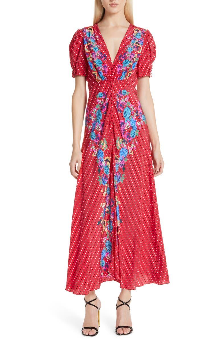 SALONI Lea Print Silk Maxi Dress, Main, color, 615