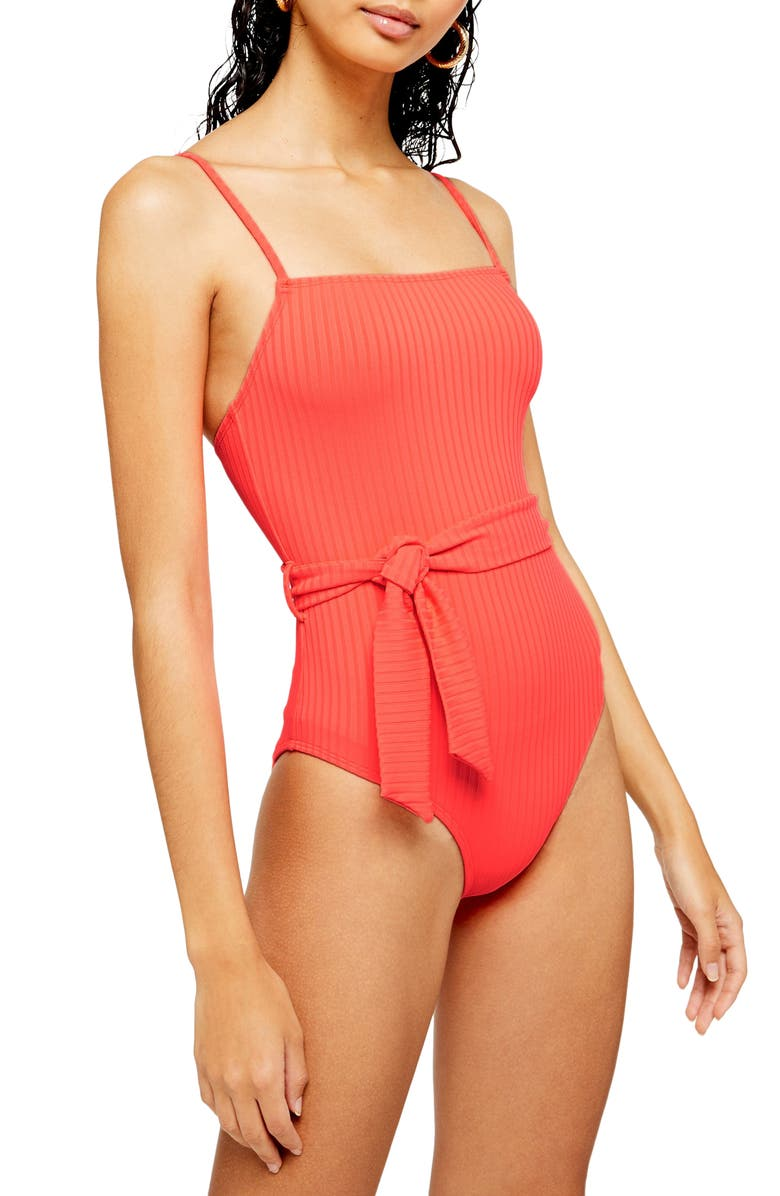 TOPSHOP Belted One-Piece Swimsuit, Main, color, 600