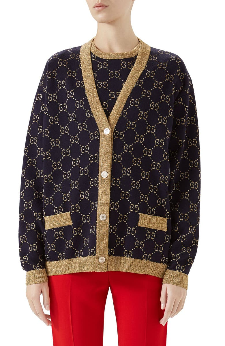 GUCCI Metallic GG Cardigan, Main, color, BLUE/ GOLD