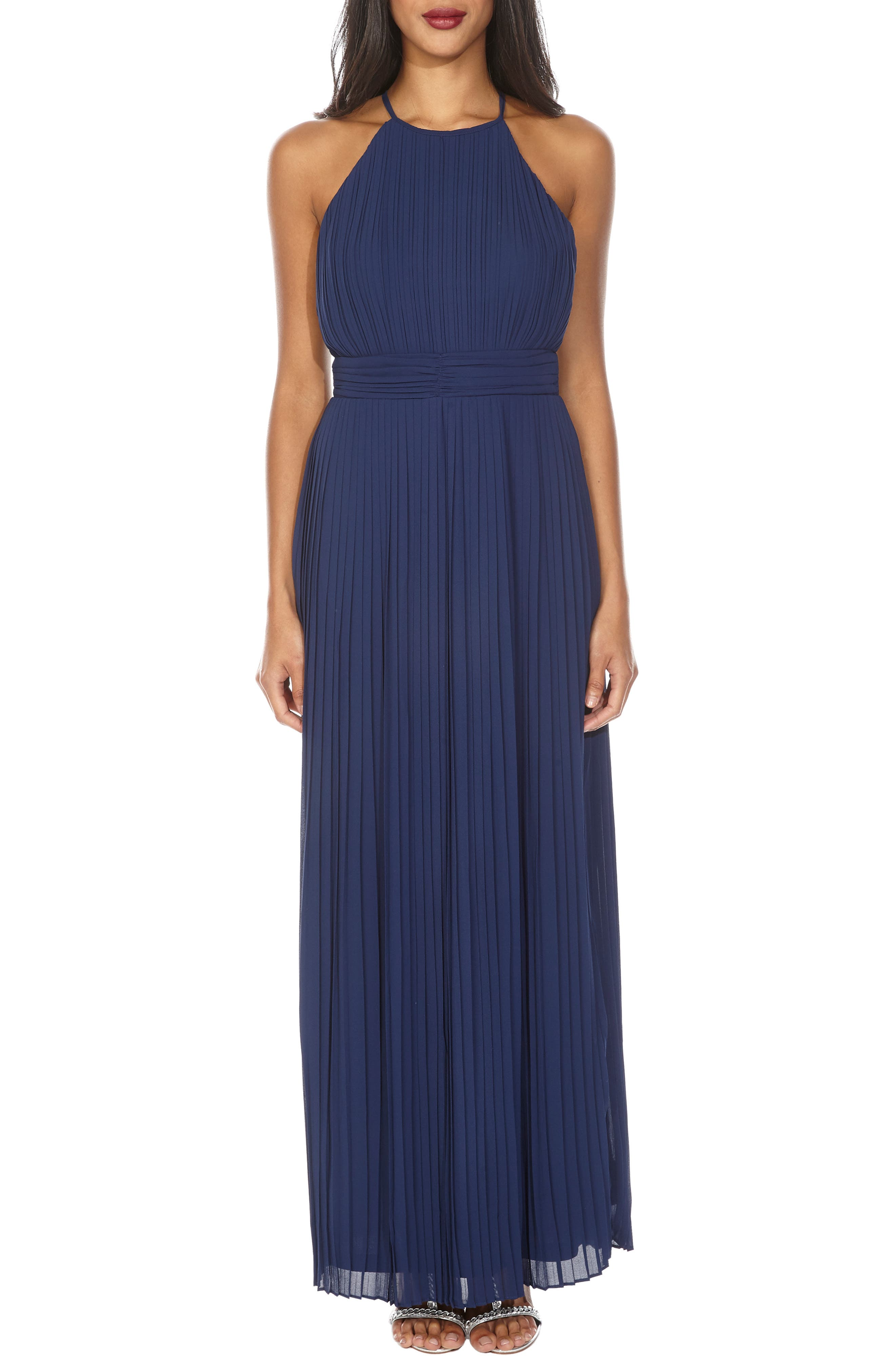 Tfnc Serene Sleeveless Pleat Gown, Blue