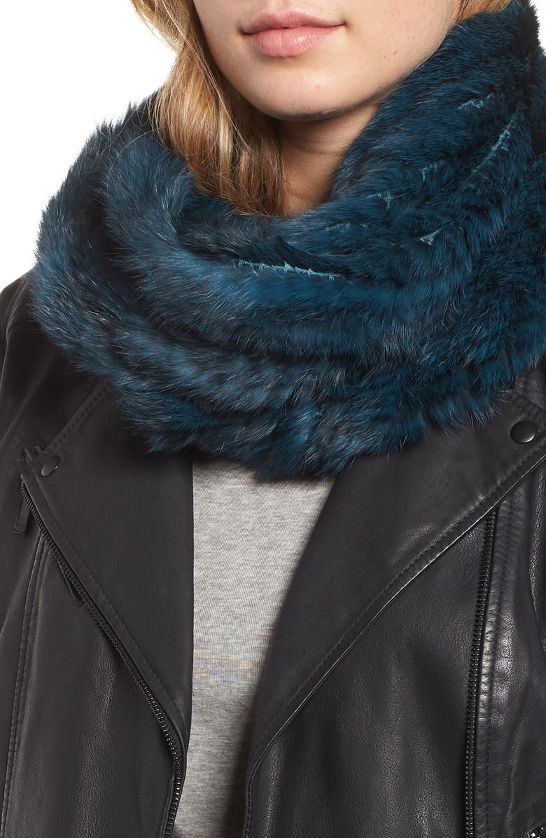 JOCELYN Genuine Rabbit Fur Infinity Scarf, Main, color, 440