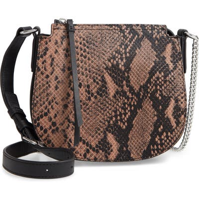 Allsaints Small Ely Snakeskin Embossed Leather Crossbody Bag - Pink