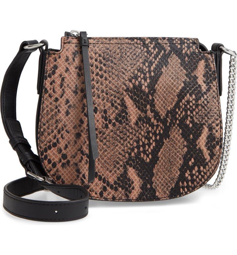ALLSAINTS Small Ely Snakeskin Embossed Leather Crossbody Bag, Main, color, SNAKE PINK